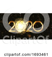Happy New Year Banner With Firework Design