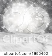 3D Snow Against A Starry Bokeh Lights Background