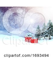 3D Winter Landscape With Presents Nestled In Snow