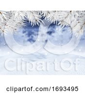 3D Winter Landscape With Christmas Tree Branches