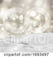 3D Snowy Winter Landscape With Bokeh Lights And Falling Snowflakes