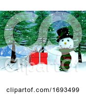 3D Snowy Landscape With Snowman And Gift