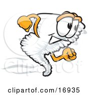 Clipart Picture Of A Tornado Mascot Cartoon Character Running