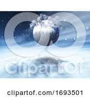 3D Christmas Snowy Landscape With Winter Trees On Globe