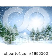 3D Christmas Landscape Background With Falling Snow