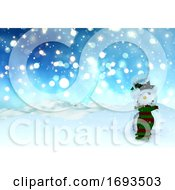 3D Christmas Background Of Bokeh Lights And Stars With Snowman