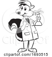 Scientist Skunk Holding A Plant In A Flask