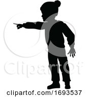 Poster, Art Print Of Silhouette Child Kid In Christmas Winter Clothing