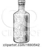 Drink Glass Bottle Vintage Woodcut Etching Style