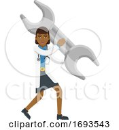 Asian Doctor Woman Holding Spanner Wrench Mascot