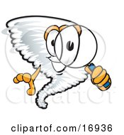 Clipart Picture Of A Tornado Mascot Cartoon Character Looking Through A Magnifying Glass by Toons4Biz