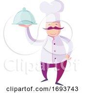 Male Chef Holding A Cloche Platter