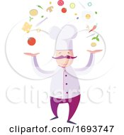 Male Chef Juggling Food