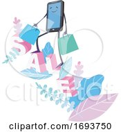 Poster, Art Print Of Smart Phone Character Carrying Shopping Bags On The Word Sale
