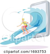 Male Surfer Emerging From A Smart Phone
