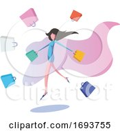 Poster, Art Print Of Woman With Shopping Bags