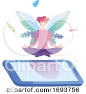 Woman Meditating In Lotus Pose On A Smart Phone