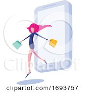 Poster, Art Print Of Female Shopper Stepping Out Of A Smart Phone