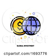 Icon Of Globe And Dollar For Global Investment Or World Financial System Concept Flat Filled Outline Style Pixel Perfect 64x64 Editable Stroke