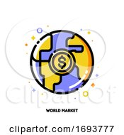 Poster, Art Print Of Icon Of Globe And Dollar For World Market Or Global Financial System Concept Flat Filled Outline Style Pixel Perfect 64x64 Editable Stroke