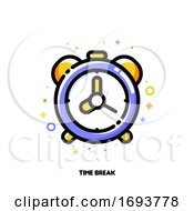 Poster, Art Print Of Icon Of Alarm Clock For Time Management Or Work Efficiency Concept Flat Filled Outline Style Pixel Perfect 64x64 Editable Stroke