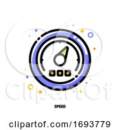 Icon Of High Speed Performance With Speedometer For Time Management Or Work Efficiency Concept Flat Filled Outline Style Pixel Perfect 64x64 Editable Stroke