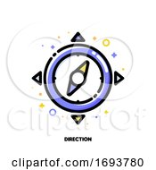 Icon Of Compass For Direction In Time Management Concept Flat Filled Outline Style Pixel Perfect 64x64 Editable Stroke