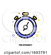 Poster, Art Print Of Icon Of Stopwatch Chronometer For Time Management Or Work Efficiency Concept Flat Filled Outline Style Pixel Perfect 64x64 Editable Stroke