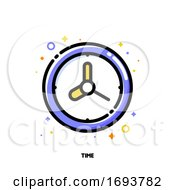 Poster, Art Print Of Icon Of Watch With Cute Wall Clock For Time Management Or Work Efficiency Concept Flat Filled Outline Style Pixel Perfect 64x64 Editable Stroke
