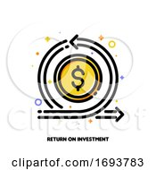 Icon Of Dollar And Loop Arrow For Return On Investment Or Currency Exchange Concept Flat Filled Outline Style Pixel Perfect 64x64 Editable Stroke