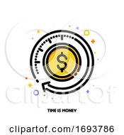Icon Of Finance Service With Clock And Dollar For Time Is Money Or Fast Payment Transfer Concept Flat Filled Outline Style Pixel Perfect 64x64 Editable Stroke