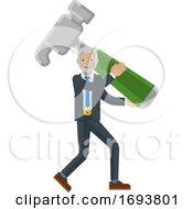 Poster, Art Print Of Mature Business Man Holding Hammer Mascot Concept