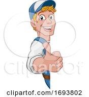 Poster, Art Print Of Cartoon Handyman Caretaker Construction Sign Man