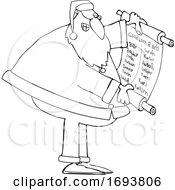 Poster, Art Print Of Cartoon Santa Claus Reading A Good List