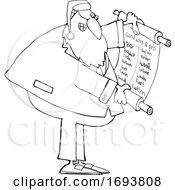 Poster, Art Print Of Cartoon Rabbi Santa Claus Reading A Good List