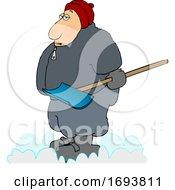 Cartoon Chubby Guy Holding A Snow Shovel