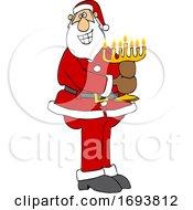 Cartoon Santa Claus Holding A Menorah