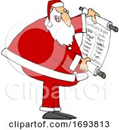 Cartoon Santa Claus Reading A Good List