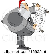 Cartoon Rabbi Santa Claus Reading A Good List