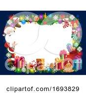 Poster, Art Print Of Christmas Frame Of Santa Gifts Xmas Tree And Bell