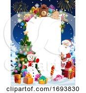 Poster, Art Print Of Santa Christmas Gifts Snowman And Blank Sign