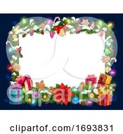 Poster, Art Print Of Christmas Decorations Frame Blank Paper Template