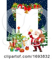 Poster, Art Print Of Christmas Holiday Santa Deer Snowman And Gifts