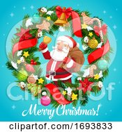 Poster, Art Print Of Santa Claus With Christmas Bell In Wreath Frame