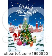 Poster, Art Print Of Christmas Tree In Snow Santa With Gifts And Elf