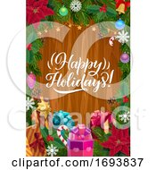 Christmas Tree Wreath And Gifts On Wood Background
