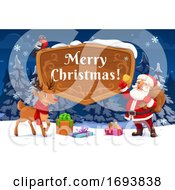 Poster, Art Print Of Santa And Christmas Reindeer With Xmas Gifts Bell