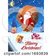 Poster, Art Print Of Christmas Poster Santa With Gifts Bag On Roof