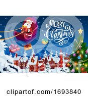 Poster, Art Print Of Santa Claus With Christmas Gifts And Xmas Sledge