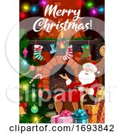Poster, Art Print Of Christmas Tree Lights Santa Gifts At Fireplace